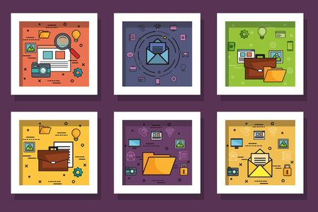 bundle designs of business icons vector illustration design