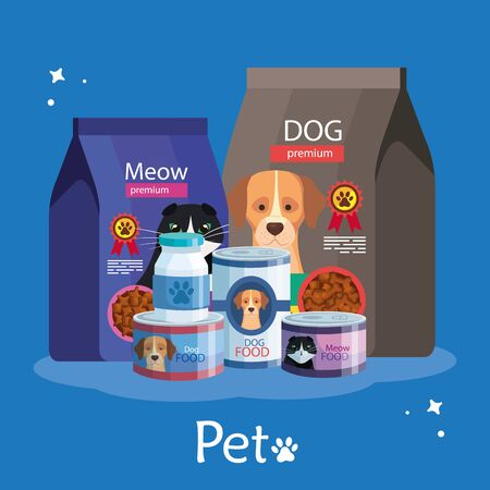 set of food for cats and dogs illustration design Çizim