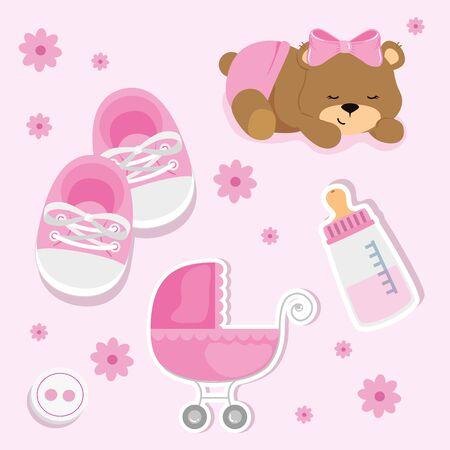 set cute icons of baby shower vector illustration design Ilustración de vector
