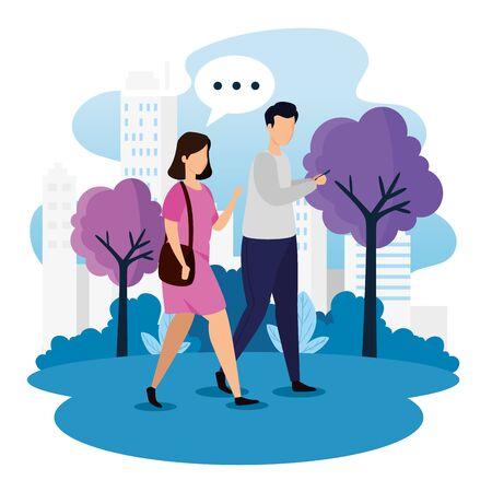 urban scene with couple talking vector illustration design