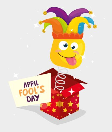 april fools day with surprise box vector illustration design