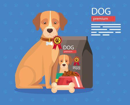 dog with food premium and bone vector illustration design