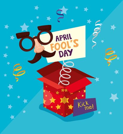 april fools day with surprise box and crazy mask vector illustration design Vetores