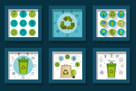bundle designs of friendly and recycle icons vector illustration design