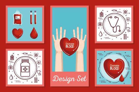 designs set of blood donation icons vector illustration design