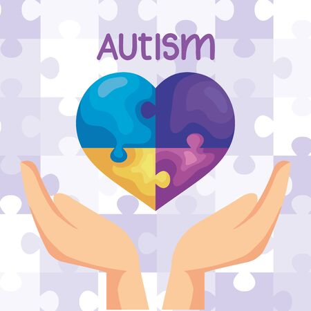 world autism day with hand and heart vector illustration design