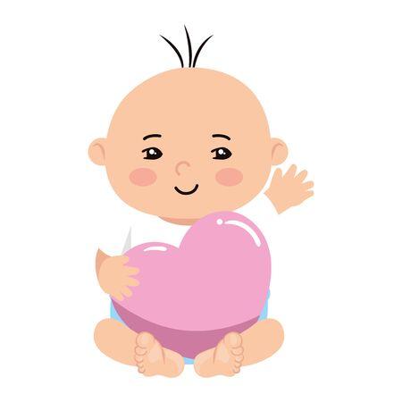 cute little baby boy with heart love vector illustration design Ilustracje wektorowe