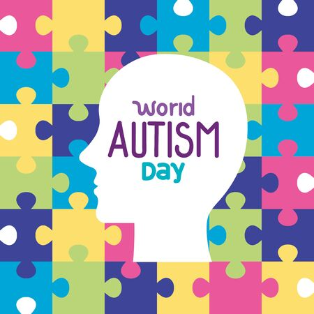 world autism day with head silhouette in puzzle pieces background vector illustration design