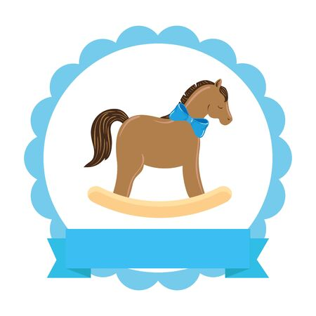 wooden horse toy in lace frame isolated icon vector illustration design