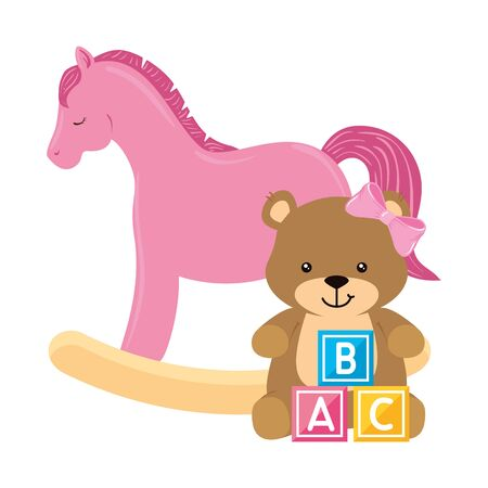 wooden horse toy pink with bear female and cubes toy vector illustration design