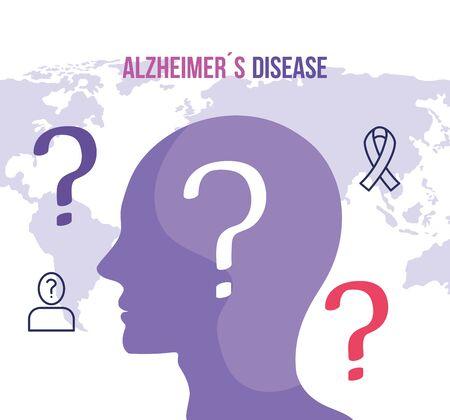 world alzheimer day with head profile vector illustration design