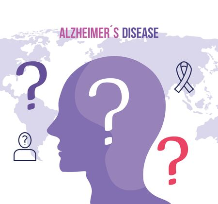 world alzheimer day with head profile vector illustration design