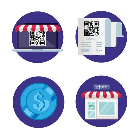 qr code paper laptop store and coin design of technology scan information business price communication barcode digital and data theme Vector illustration