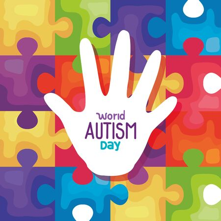 world autism day with hand in puzzle pieces background vector illustration design