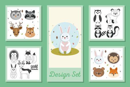 designs set of cute wild animals vector illustration design