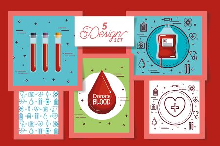 five designs of blood donation icons vector illustration design