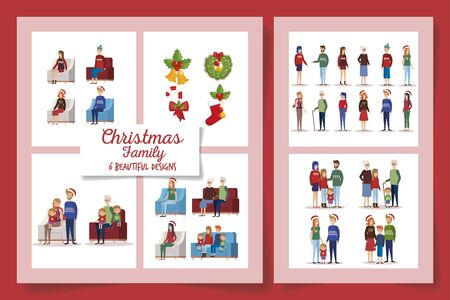 six designs of christmas family with decoration vector illustration design