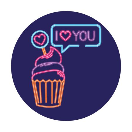 cupcake in neon light, valentine day vector illustration design 向量圖像