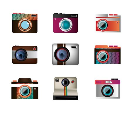 set icons of cameras photographics vector illustration design
