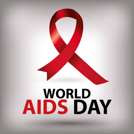 poster world aids day with ribbon vector illustration design