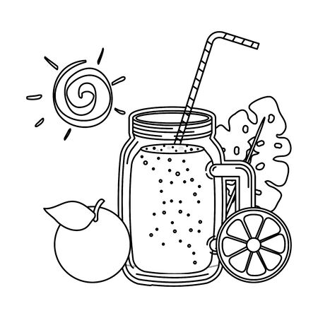 juice orange fruit jar with straw and sun vector illustration design