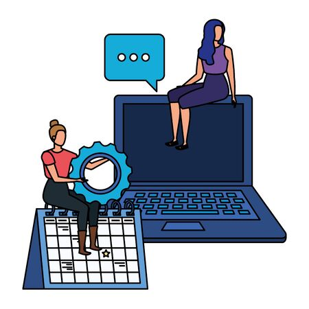 young women with laptop characters vector illustration design