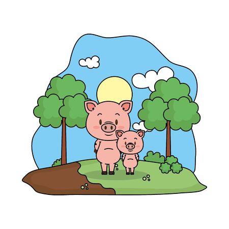 cute pig family in the landscape vector illustration design