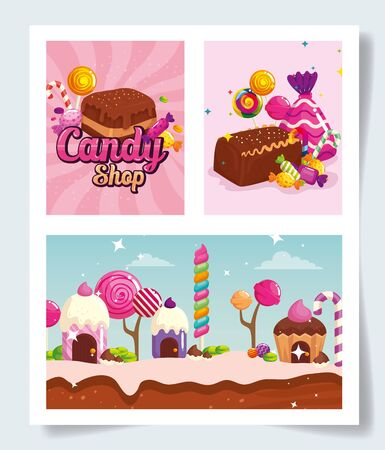 set of scenes with candies vector illustration design Illustration
