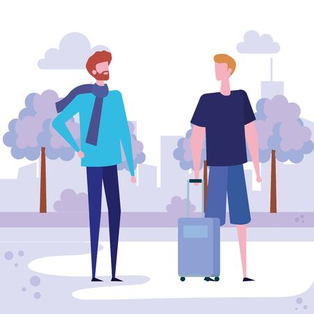men with hairstyle and casual clothes with baggage around of trees and bushes plants, vector illustration