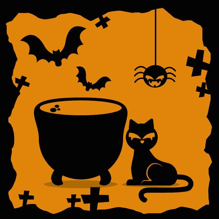 halloween cat with cauldron and set icons vector illustration design
