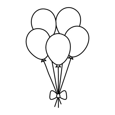 balloons helium decoration isolated icon vector illustration design