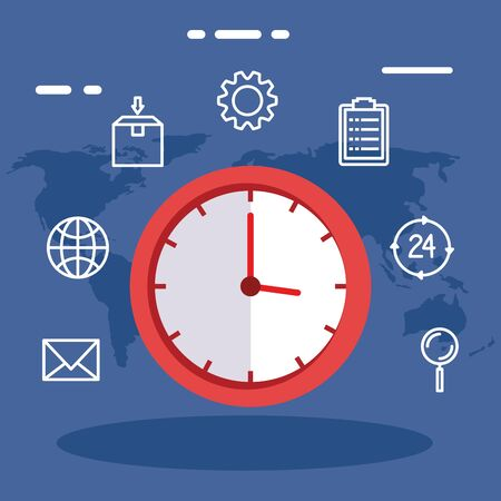 clock and icon set design, Delivery logistics transportation shipping service warehouse industry and global theme Vector illustration Vektorové ilustrace
