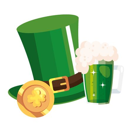 top hat leprechaun with beer jar and coin vector illustration designicon
