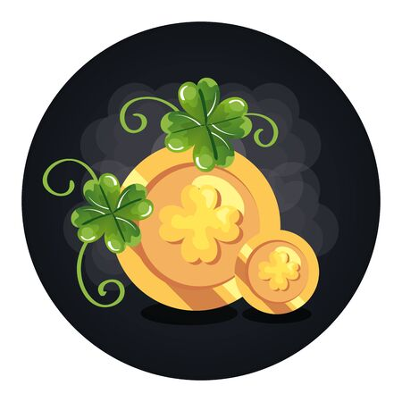 coins with clovers in frame circular vector illustration design Illustration