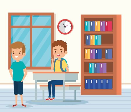 boys children learning in the academic classroom with desk and bookcase vector illustration