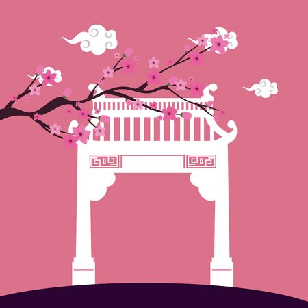 chinese arch and tree plant scene vector illustration design