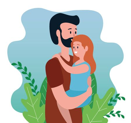 man father with his nice daughter and plants to family together, vector illustration