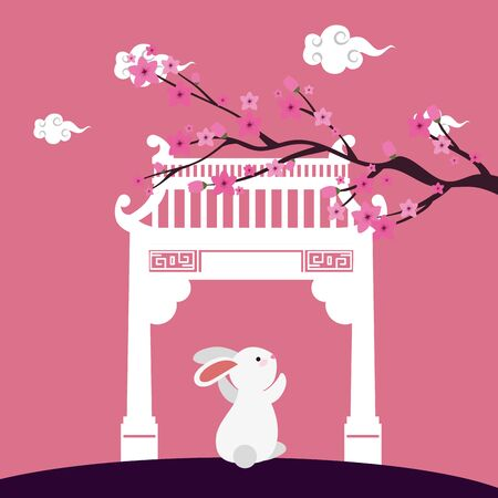 little rabbit with chinese arch and tree plant scene vector illustration design