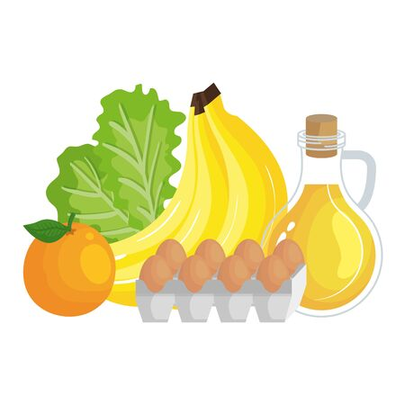 oilve oil with eggs and fruits healthy food icons vector illustration design