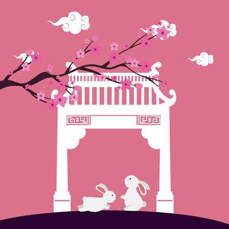 little rabbits with chinese arch and tree plant scene vector illustration design