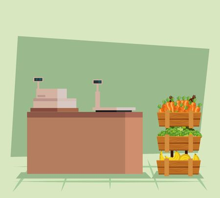 cash register with carrots and broccoli vegetables with bananas to natural store, vector illustration