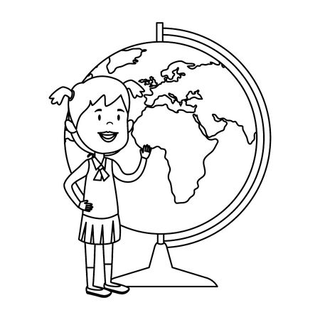 happy student girl with world map supply vector illustration design Illustration