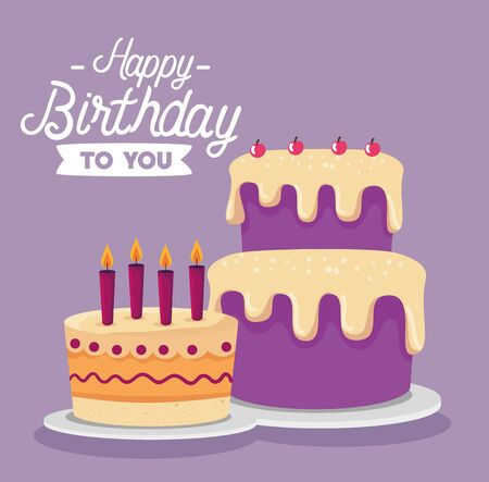 sweet cakes with candles and cherrys decoration to happy birthday, vector illustration