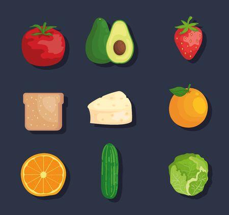 set of fresh vegetables and fruits nutrition over blue background vector illustration Ilustrace