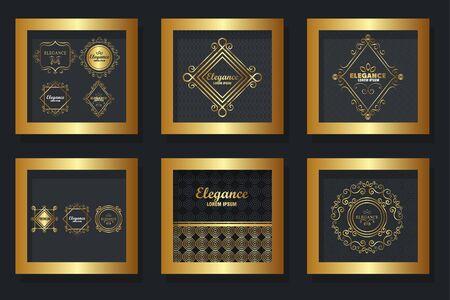 bundle of victorian elegance frames vector illustration design