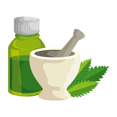 pill grinder with cannabis leafs and bottle vector illustration design