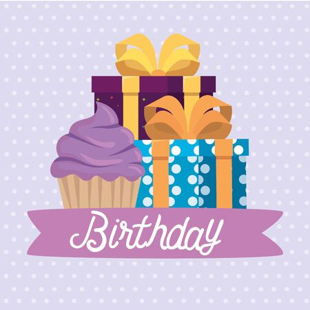 sweet muffin with present gifts and ribbon bow to happy birthday, vector illustration