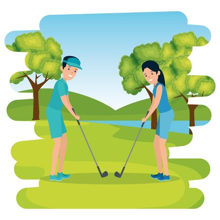 happy athletic couple practicing golf in the camp vector illustration design