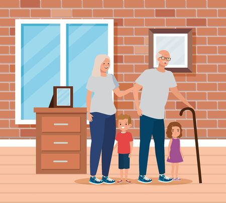 cute grandparents with their boy and girl child in the home, vector illustration 向量圖像