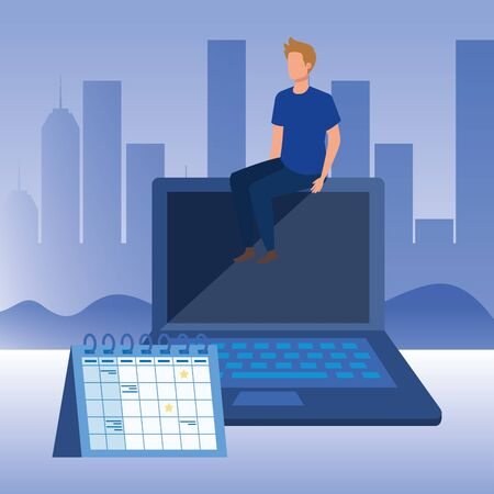young man with laptop character vector illustration design